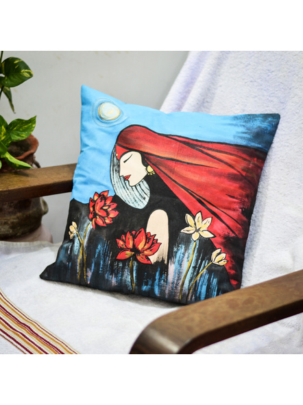 Hand Painted Cotton Cushion Cover Isolation (16inch X 16inch)-LAA-HD-CC-009