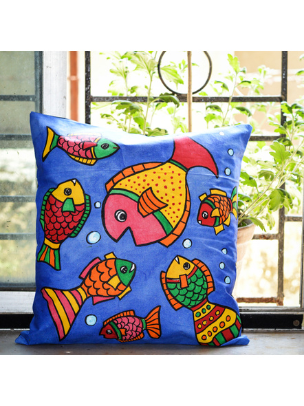 Hand Painted Cotton Cushion Cover Fish (16inch X 16inch)-LAA-HD-CC-008