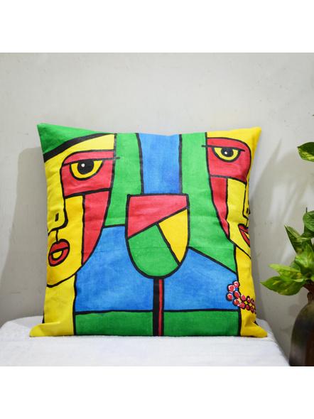 Hand Painted Cotton Cushion Cover (16inch X 16inch)-LAA-HD-CC-007