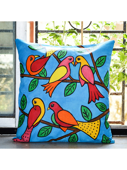 Hand Painted Cotton Cushion Cover Birds (16inch X 16inch)-LAA-HD-CC-005