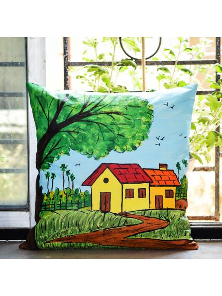 Hand Painted Cotton Cushion Cover Village (16inch X 16inch)-LAA-HD-CC-004