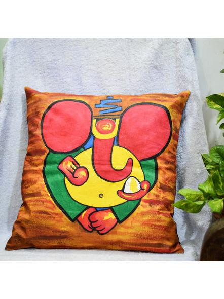 Hand Painted Cotton Cushion Cover Ganesha (16inch X 16inch)-LAA-HD-CC-003