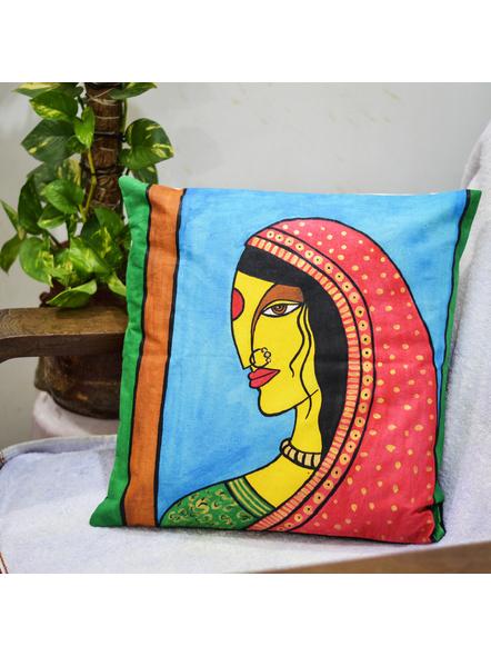 Hand Painted Cotton Cushion Cover Village Bride (16inch X 16inch)-LAA-HD-CC-001