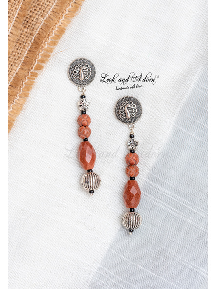 Handcrafted Peacock Stud with Sandstone and German Silver Bead Earring-LAA-ER-081