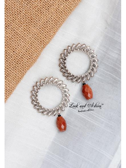 Floral Jumbo Stud with Sandstone Bead Earring-1