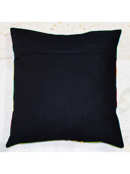 Hand Painted Cotton Cushion Cover Village (16inch X 16inch)-1