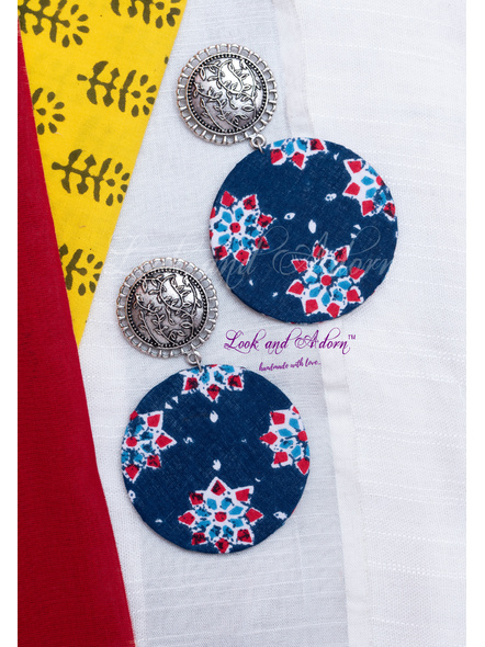 Blue Circular Floral Stud Earring-LAA-ER-087