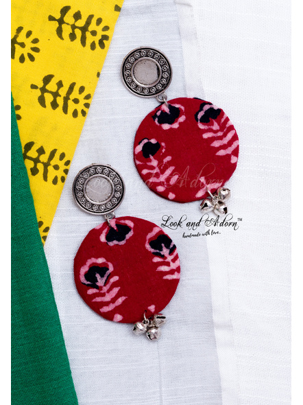 Round German Silver Stud with Floral Block Print Base and Ghungroo Earring-LAA-ER-088