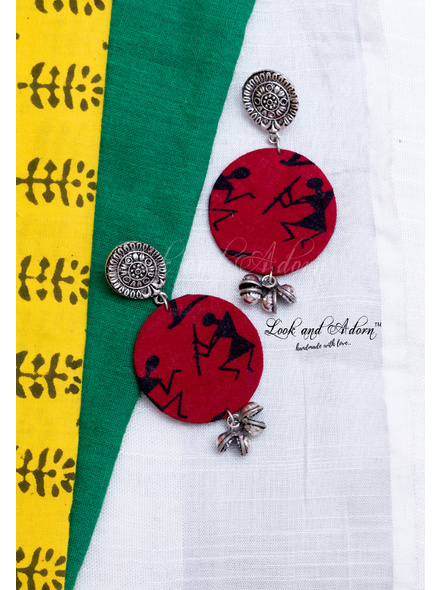 German Silver Floral Stud with Red Warli Circular Base and Ghungroo Earring-LAA-ER-091