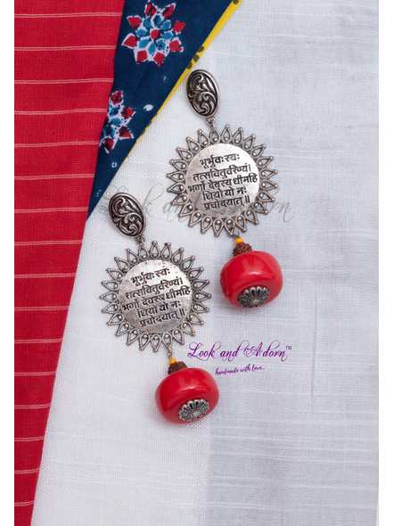 German Silver Oval Stud with Gayatri Mantra Scripted Charm Earring with Red Resin and Faux Rudraksh-LAA-ER-094