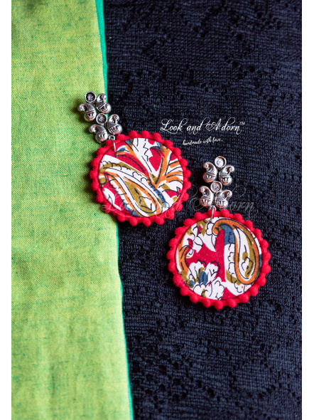 German Silver Paisley Stud with Hanging Multicolored Kalamkari Circular Base and Red Lace Earring-LAA-ER-095