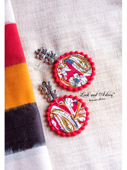 German Silver Paisley Stud with Hanging Multicolored Kalamkari Circular Base and Red Lace Earring-1