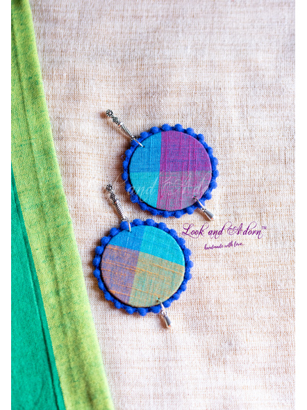 Handmade German Silver Long Stud with hanging Multicolored Circular Base and Blue Lace Earring-LAA-ER-097