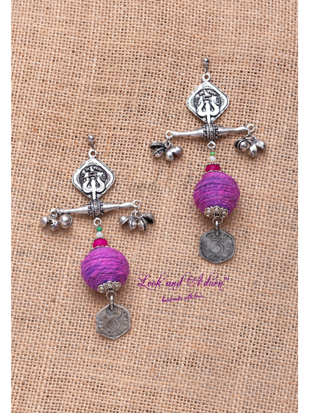Handcrafted German Silver Round Stud with Designer Trishul Coin Charm Purple Jute Ball Jade Onyx and Ghungroo Earring-LAA-ER-098