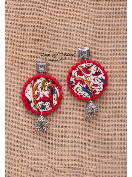 Handmade German Silver Square Stud Earring with GS Jhumka Red Kalamkari Base and Red Lace Border-LAA-ER-099
