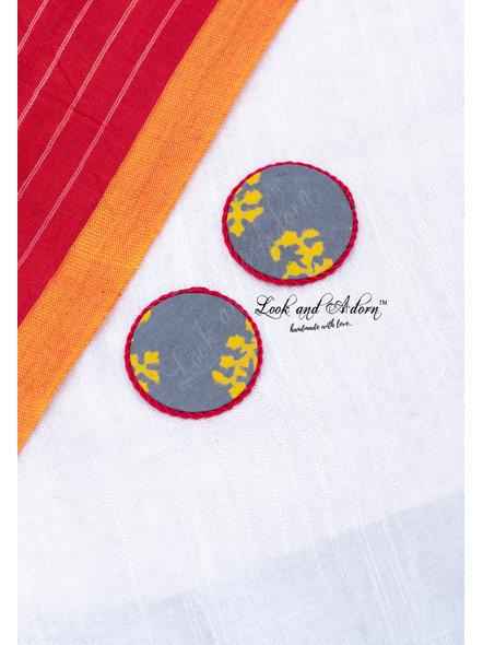Handmade Grey Yellow Circular Fabric Stud with Red Border Earring-LAA-ER-102