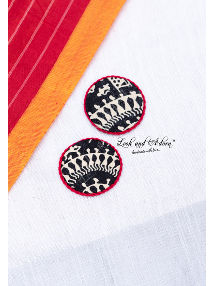 Handmade Black And White Circular Warli Fabric Stud with Red Border Earring-LAA-ER-103