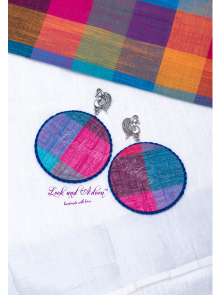 German Silver Peacock Stud with Multicolored Jumbo Fabric Base and Blue Border Earring-LAA-ER-104