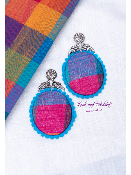 Handmade German Silver Stud with Multicolored Oval Base and Blue Lace Border Earring-LAA-ER-106