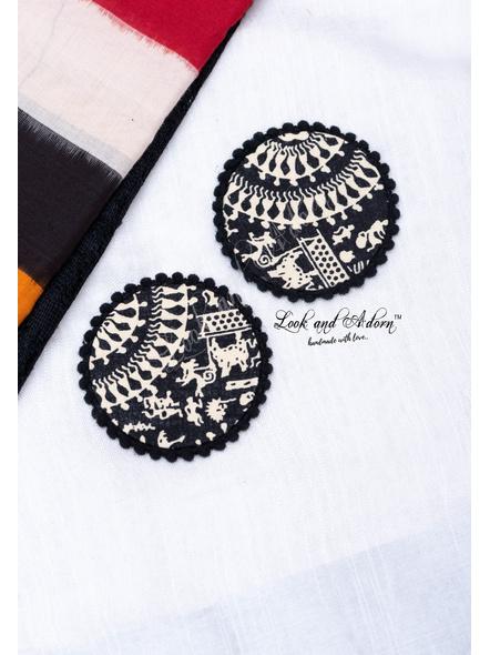 Handmade Black And White Circular Jumbo Warli Fabric Stud Earring with Black Border-LAA-ER-108
