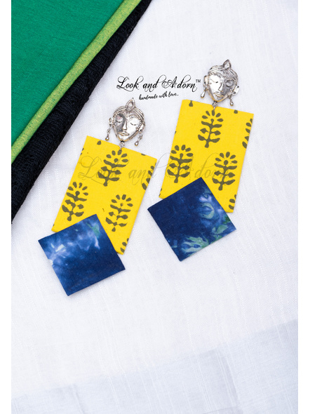 Krishna Stud Earring with Yellow and Blue Fabric Base-LAA-ER-109