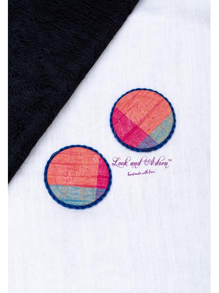 Handmade Multicolored Stud Earring with Blue Border-LAA-ER-110