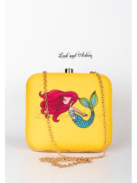 Handcrafted Yellow Mermaid American Crepe Square Printed Designer Clutch cum Sling Bag-1