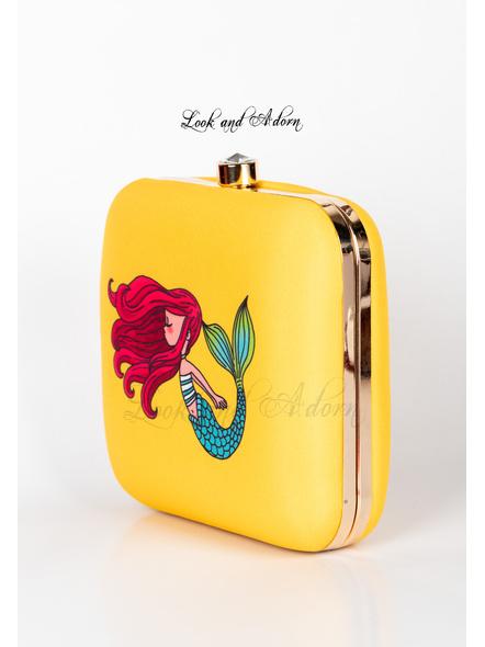 Handcrafted Yellow Mermaid American Crepe Square Printed Designer Clutch cum Sling Bag-2