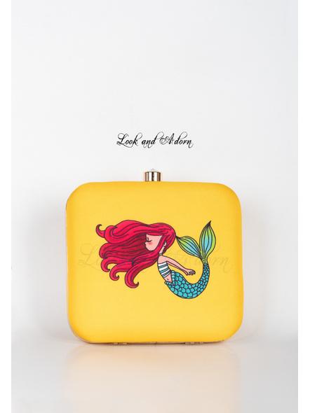 Handcrafted Yellow Mermaid American Crepe Square Printed Designer Clutch cum Sling Bag-3