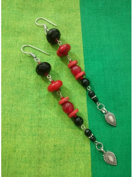 Handmade Red and Black Dangler Earring-LAA-ER-RB1