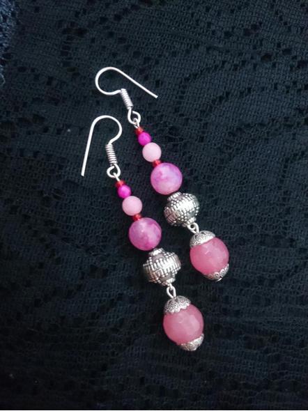 Semi Precious Pink Dangler-LAA-ER-INSTA001