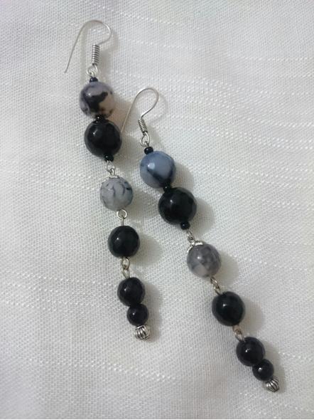 Black Grey Dangler Earring-LAA-ER-INSTA02
