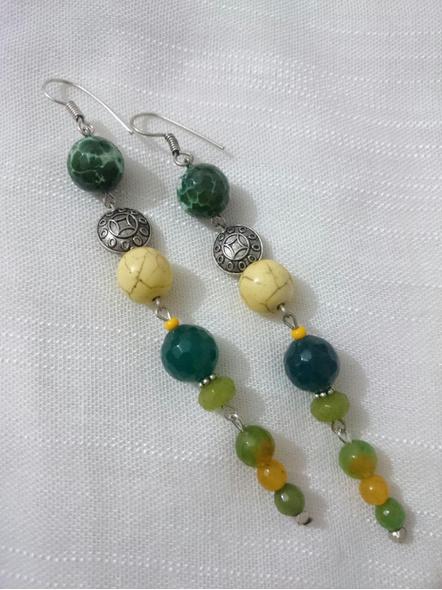 Semi Precious Shades of Green Earring-LAA-ER-INSTA003
