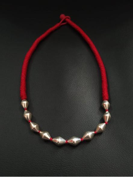 92.5 Pure Silver Dholki Neckpiece-LAA-NL-037R