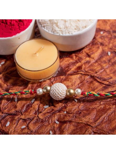 Pearl Focal Handmade Designer Rakhi with Roli Chawal-LAA-RK-05