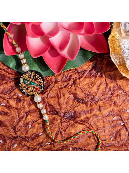Designer Semi Precious hand Painted Tanjore Painting Pearl Rakhi with Roli Chawal-LAA-RK-06