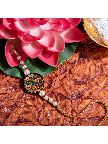 Designer Semi Precious hand Painted Tanjore Painting Pearl Rakhi with Roli Chawal-1