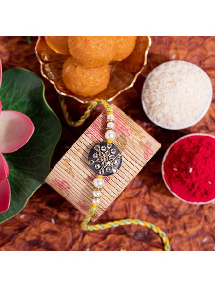 Designer Semi precious Stone Kundan Pearl Handmade Rakhi with Roli Chawal-LAA-RK-07