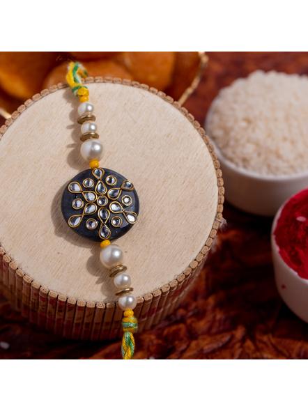 Designer Semi precious Stone Kundan Pearl Handmade Rakhi with Roli Chawal-1