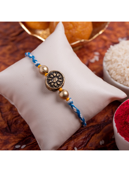Designer Circular Golden bead Rakhi with Roli Chawal-LAA-RK-08