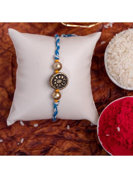 Designer Circular Golden bead Rakhi with Roli Chawal-1