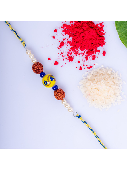 Designer Yellow Ceramic Bead Rakhi with Roli Chawal-LAA-RK-14