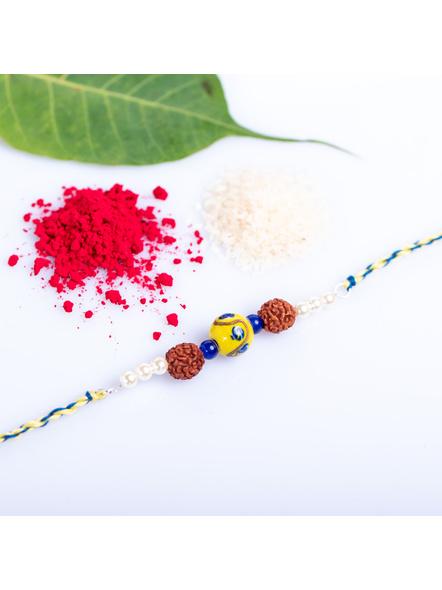 Designer Yellow Ceramic Bead Rakhi with Roli Chawal-1