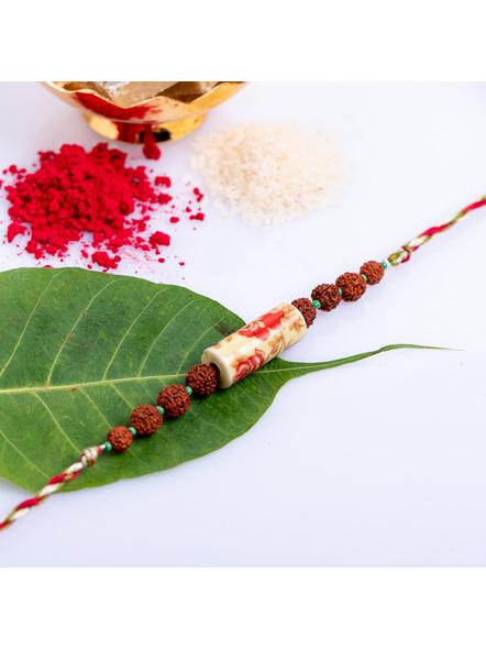 Designer Floral Ceramic Rudraksh Rakhi with Roli Chawal-LAA-RK-16