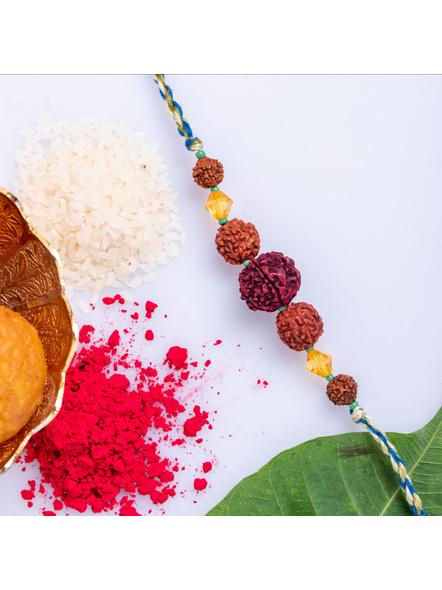 Handmade Colorful Rudraksh Designer Rakhi  with Roli Chawal-LAA-RK-19