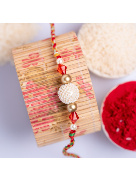 Handmade Pearl Focal Red Crystal Designer Rakhi with Roli Chawal-1