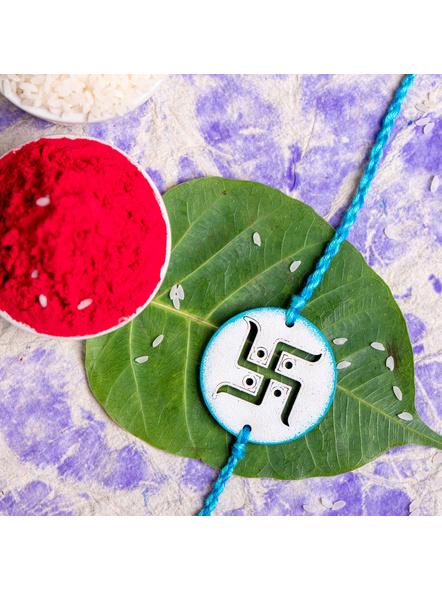 Designer Hand Painted Blue Swastik Rakhi with Roli Chawal for Boys & Men-3