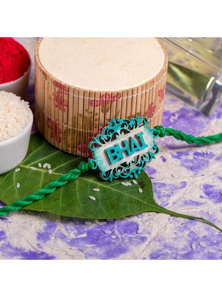 Handpainted Designer Bhai Rakhi with Roli Chawal-1