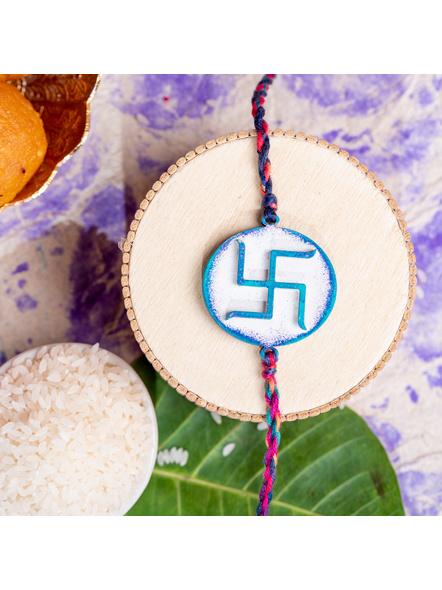 Designer Handpainted Circular Swastik Rakhi with Roli Chawal-1