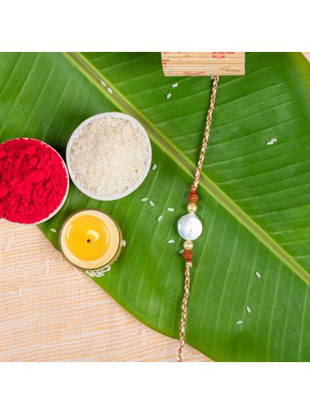 Handmade Coin Pearl Rudraksh Designer Rakhi with Roli Chawal-LAA-RK-40